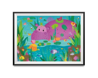 Poster A3 | Discovery Poster hippo