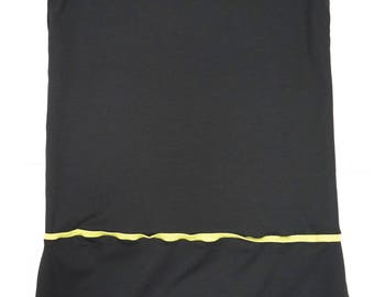 flared dress in organic cotton with contrasting colors