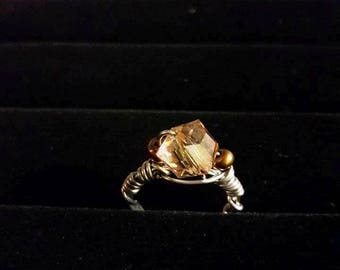 Topaz square crystal women's fashion wire wrap ring