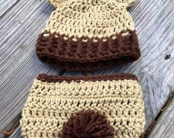 Crochet Baby Bear Hat Brown  Baby Bear Hat,  Newborn Hat, Newborn beanie  all sizes available preemie to adult