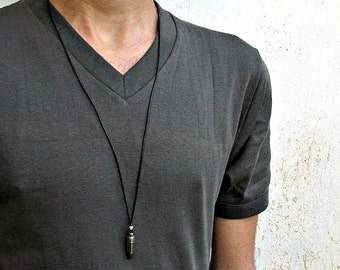 Men's Bullet Necklace, Pendant, Men's Silver Bronze Necklace Pendant, Mens Jewelry Mens Gift