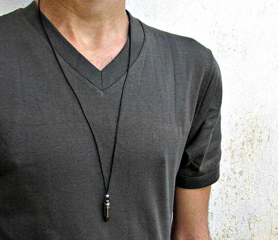 Men's Bullet Necklace, Pendant, Men's Silver Bronze Necklace Pendant, Mens Jewelry Mens Gift