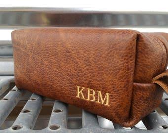 Whiskey  Leather Shaving Bag/ Handmade Shave Bag /Father's Day Gift/ Wedding/ Groomsman Gift/ Dopp Kit/ Mens Gift
