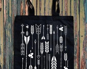 Arrow Heart graphic print Canvas Tote Bag