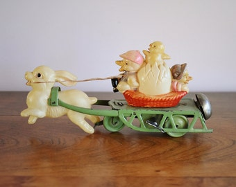 Celluloid and Tin Wind-Up Easter Toy, Easter on Parade Easter Bunny and Ducks on Metal Sleigh, Easter Mechanical Toy