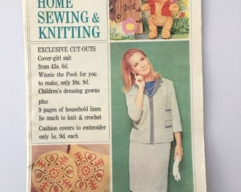 Vintage Woman's Magazine, Woman's Realm, Vintage Home Sewing and Knitting Magazine,  November 1966 issue