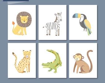 Safari Nursery Art, Jungle Nursery Decor, Zoo Animals, Zoo Nursery Art, Jungle Prints, Lion, Tiger, Zebra, Cheetah, Toucan, Baby Aninals