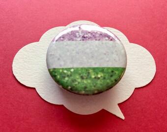 glitter genderqueer pride flag pin   non-binary pride flag button