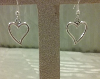 Open heart charm earrings