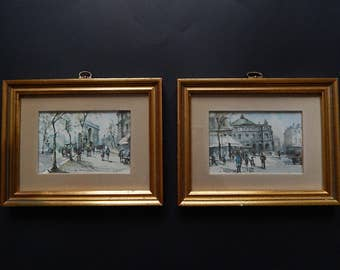 2 3 12 x 5 12 paris streets arc de triomphe framed postcards in 7 x 9 wood gold antiqued frames 3910f g