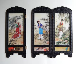 """3 Panels Plastic Black Asian 4"""" x 10 1/2"""" Screens Hinged Paper Pictures Womens in Garden Bamboo Cherry Blossoms"""
