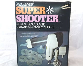 Vintage Wear Ever Super Shooter Electric Cookie Press Canape Candy Maker 70001, Electric Cookie Maker, Vintage Canape Press, Super Shooter