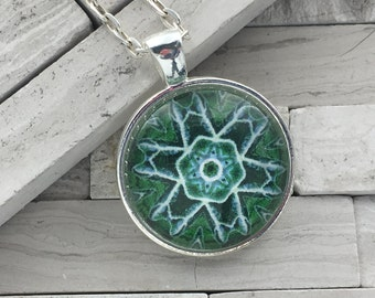 Green pendant necklace, Abstract pendant necklace