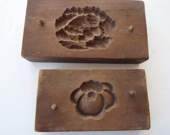 2 Japanese Kashigata  wooden sweets mold butter cake rice  molds hand carved floral Camellia Mum chrysanthemun