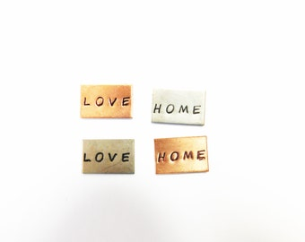 love, hope stamped tag copper nickel