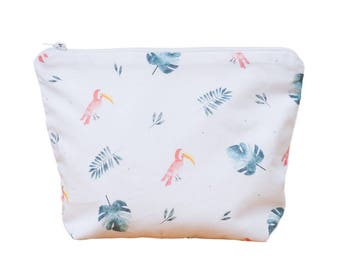 TOUCAN and MONSTERA Toiletry Bag - Exotique - Tropical - Handmade in France