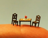 1/144th inch scale miniature-Rectangular kitchen table with chairs