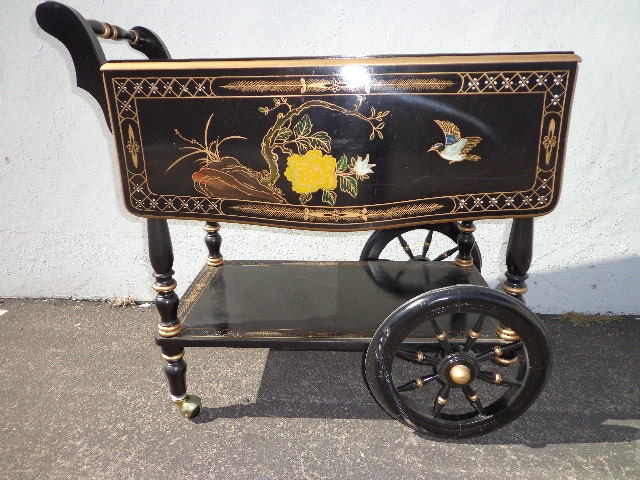 tea cart asian vintage italian marquetry bar cart inlay colorful console wine rack server brass. Black Bedroom Furniture Sets. Home Design Ideas