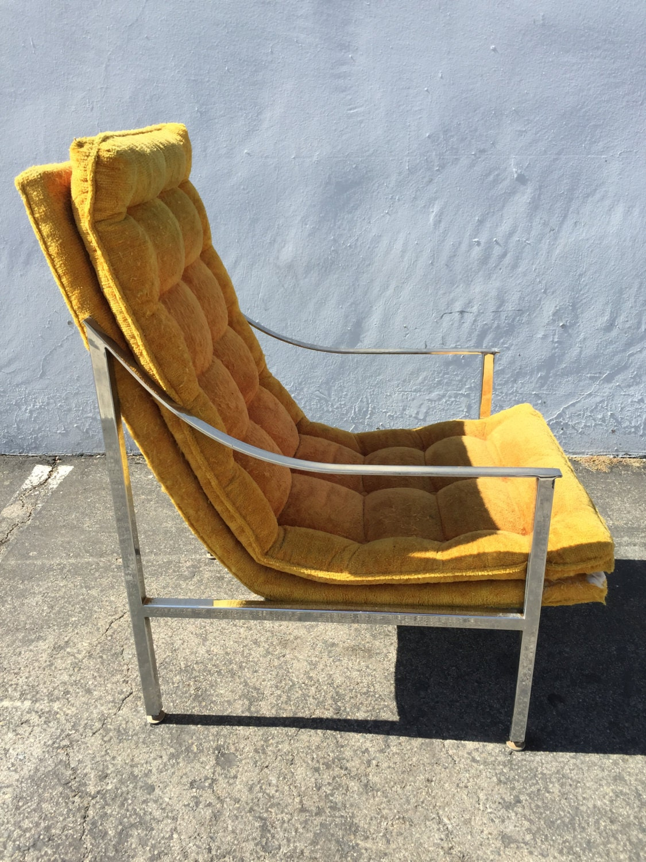 Chair Armchair Mid Century Modern Mcm Milo Baughman Thayer Coggin Chrome Metal Lounge Scoop Regency Vintage Seating Tufted Designer Retro