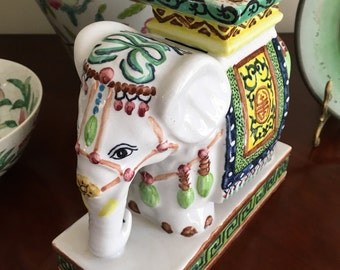 Vintage huge Elephant with Chinese calligraphy, tassels, and bright colors