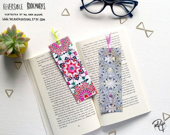 Pink and Grey Islamic Patterned Reversible Bookmark - Geometric Pattern - Handmade in UK - Ramadan