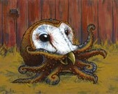 Barn Owl Octopus - Fine Art Print