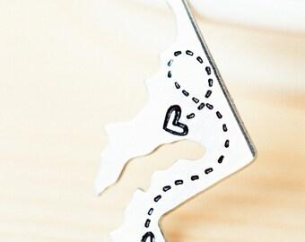 Custom State Keychain - Long Distance Relationship Keychain - CHOOSE Your STATE - Long Distance Love Keychain