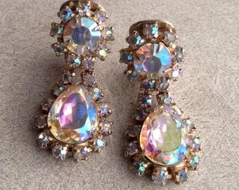 Clip Earrings - Vintage Iridescent Crystal Rhinestone AB Drop Dangle Wedding Earrings, Clip On Costume Jewelry