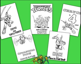Teenage Mutant Ninja Turtles Personalized Coloring Book - TMNT Instant Download Emailed as PDF - Great For Presents & Party Favors - Print