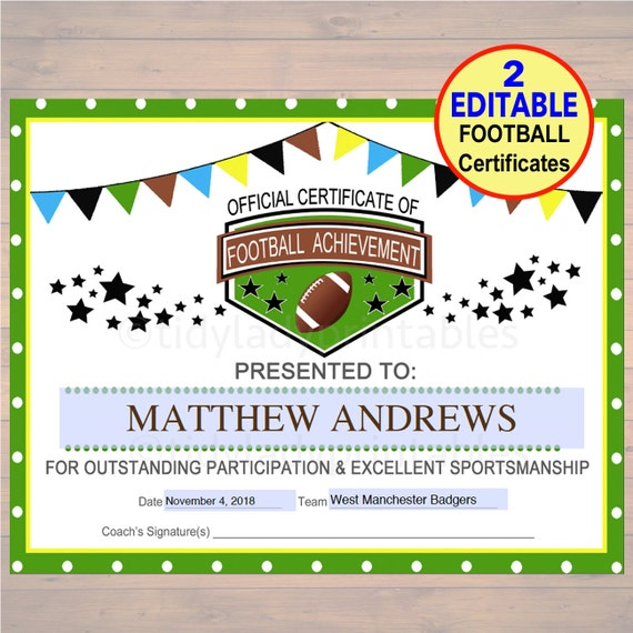 football certificate templates - editable football award certificates instant download team