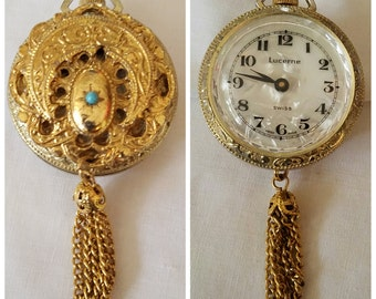 Vintage Ladies Fancy Filagree Cresent Moon Swiss made Pendant Necklace Watch with Mother of Pearl Face made by Lucerne