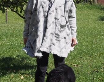 Poncho Oversized Cardigan Long Dolman Jacket Wool Cardigan with  Hood & Nara KP021