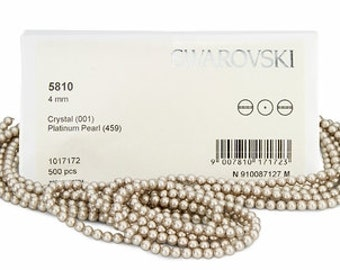 Platinum,4mm Swarovski Crystal Pearl,(5810) pkg of 25