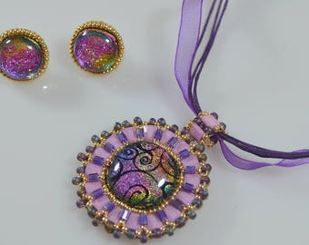 DICHROIC GLASS OOAK Set (Pink and Purple)