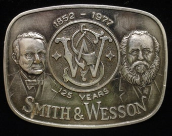 Smith & Wesson Belt Buckle 1852-1977 125 Years Anniversary