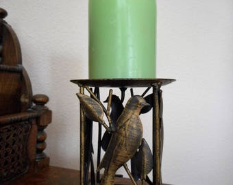 Metal Candlestick  Holder Wtih Birds