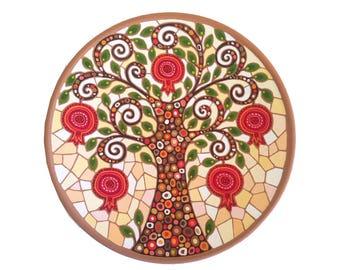 "Decorative Plate ""Pomegranate Tree"", Ceramic plate, Armenian gifts"