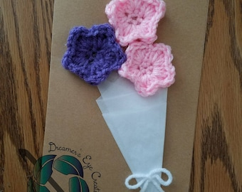 Crochet card, bouquet card, crochet flowers, Mother's day card, baby shower card, birthday card, flower card