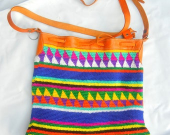 RARE handmade Vintage bright color with tan tribal print woven large bucket purse cross body bag