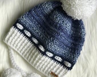 Carla Ear Flap Pom Pom Slouch Hat (Crochet)