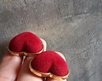 Red Heart Earrings - 80s Clip On Earrings - Gift for Her
