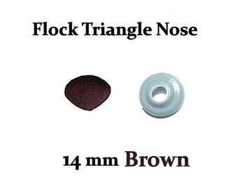 14 mm Brown Fuzzy Flock Nose with Safety Washer for Teddy Bears & Stuffed Toys
