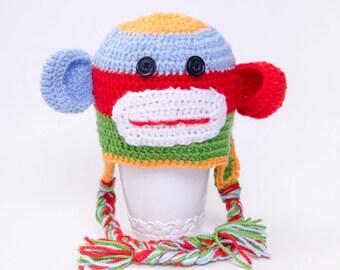 Crochet monkey hat girl boy baby hat baby shower gift  Toddler hat ,children hat ,Newborn hat ,toddler crochet hat ,baby hat