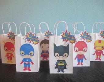 Superhero party bags(10)Super Baby,Superhero Goodie Bags,Superhero Gift Bags,Superhero Party Bags,Super Hero decorations,Superhero favor bag