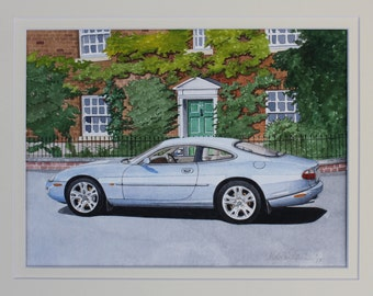 Original watercolour painting of a Jaguar XK8 at Nantwich in Cheshire, England by Malcolm Davies