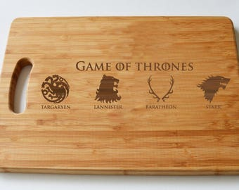Game Of Thrones Houses Engraved Wood Chopping Board, Cheeseboard, Game Of Thrones Fans, Birthdays, House Gift, Anniversary