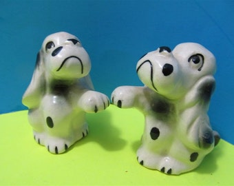 Vintage Ceramic Dogs Puppies Puppy Salt & Pepper Shakers Animal Japan #366
