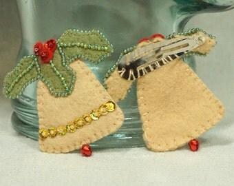 Bell Hair Clip, Felt Bell Barrette, Wool Felt Christmas Bell , Wool Felt Christmas Decoration *Ready to ship