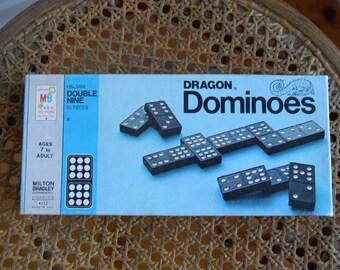 1970'S  Dragon Double Nine Wood Dominos Set
