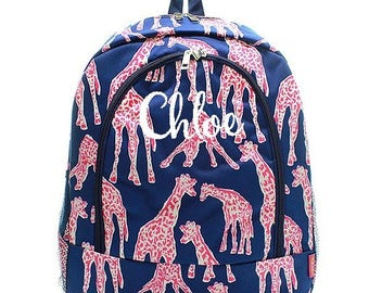 Personalized Giraffe Backpack Monogrammed Bookbag Navy Blue Pink Girl Large Canvas Kids Tote School Bag Embroidered Monogram Name